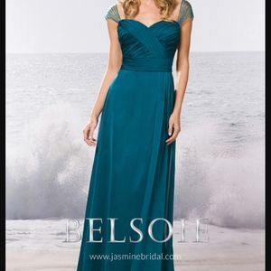 Belsoie Teal Ruched Bridesmaid Dress Size 14